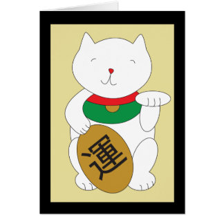 Maneki Neko Luck and Good Fortune Card