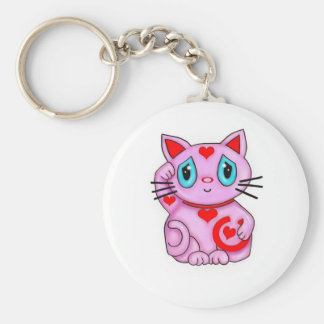 Maneki Neko Lucky Beckoning Cat Pink and Hearts Keychain