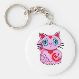 Maneki Neko Lucky Beckoning Cat Pink and Hearts Key Chains