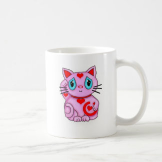 Maneki Neko Lucky Beckoning Cat Pink and Hearts Coffee Mug