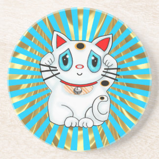 Maneki Neko Lucky Beckoning Cat Sandstone Coaster