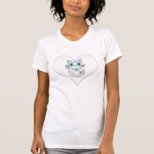 Maneki Neko Lucky Beckoning Cat White Heart Tee Shirt
