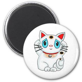 Maneki Neko Lucky Beckoning White Cat Magnet