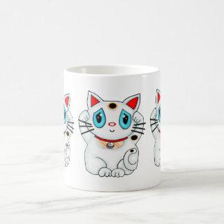 Maneki Neko Lucky Beckoning White Cat Coffee Mugs