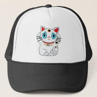 Maneki Neko Lucky Beckoning White Cat Trucker Hat