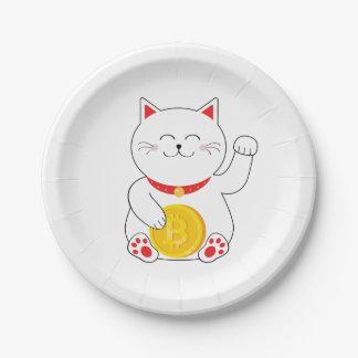 Maneki Neko Lucky Cat Bitcoin Paper Plates