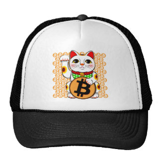 Maneki Neko Lucky Cat Bitcoin Right Paw Trucker Hat