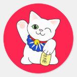 Maneki Neko Lucky Cat Classic Round Sticker