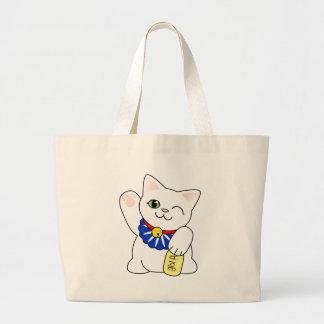 Maneki Neko Lucky Cat Large Tote Bag