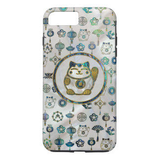 Maneki Neko Lucky cat on  pearl and abalone iPhone 8 Plus/7 Plus Case