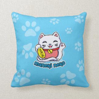 Maneki Neko lucky cat Throw Pillow
