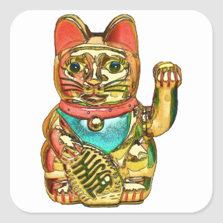 Maneki-neko, Lucky cat, Winkekatze Square Sticker