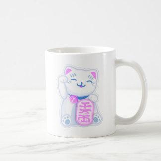maneki neko pastel classic white coffee mug