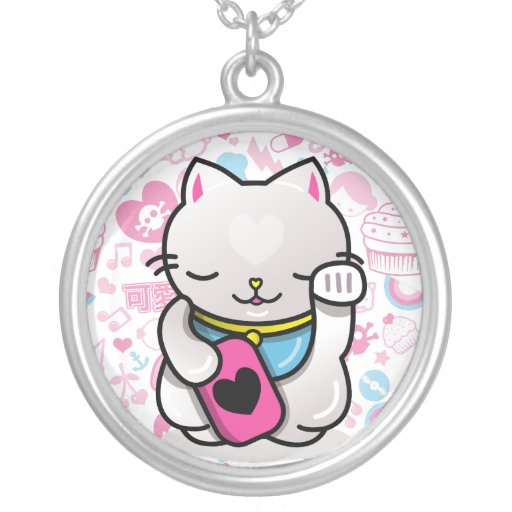 maneki neko personalized necklace