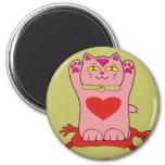 Maneki Neko Pink Cat with Hearts Refrigerator Magnet
