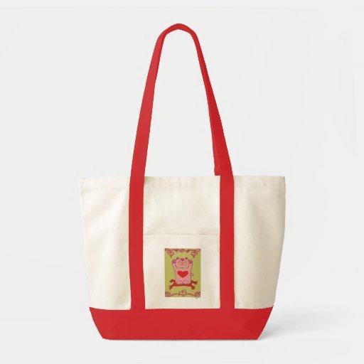 Maneki Neko Pink Cat with Hearts Tote Bags