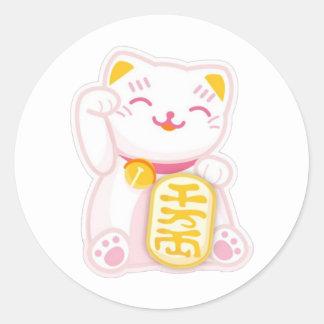 maneki neko pink classic round sticker