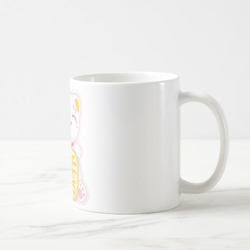maneki neko pink classic white coffee mug
