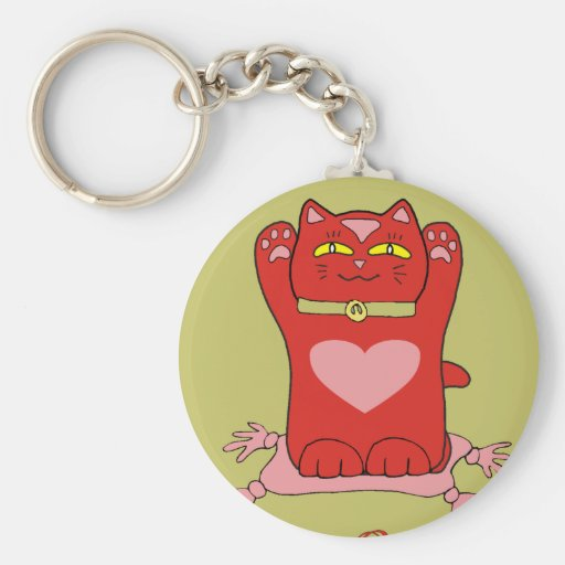 Maneki Neko Red Cat with Hearts Keychain
