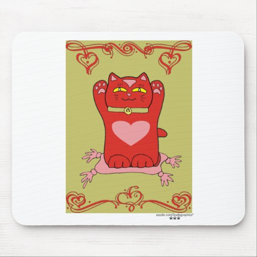 Maneki Neko Red Cat with Hearts Mouse Pad