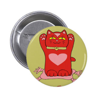Maneki Neko Red Cat with Hearts Pinback Button
