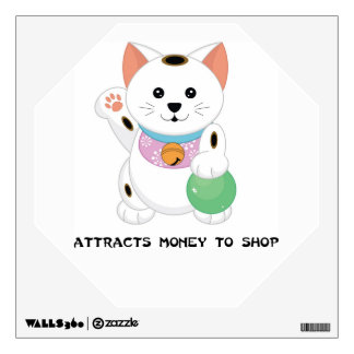 Maneki Neko Shopping Cat  - SRF Wall Decals