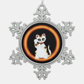 Maneki Neko Snowflake Pewter Christmas Ornament
