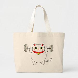 Maneki Neko Squatting Cat Jumbo Tote Bag