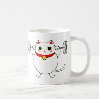 Maneki Neko Squatting Cat Classic White Coffee Mug