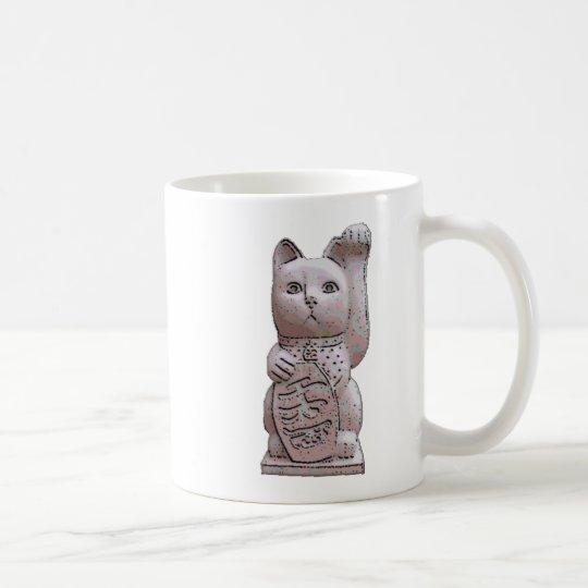 maneki neko stone coffee mug