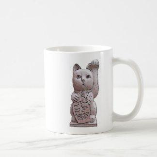 maneki neko stone classic white coffee mug