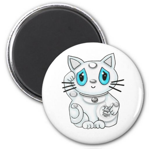 Maneki Neko White Lucky Beckoning Cat 2 Inch Round Magnet