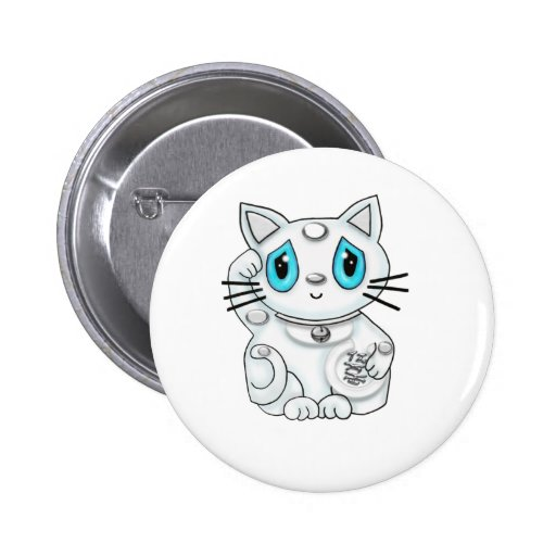 Maneki Neko White Lucky Beckoning Cat Buttons