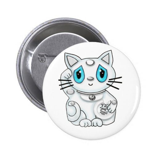 Maneki Neko White Lucky Beckoning Cat Pins