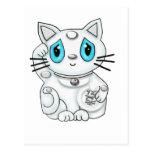 Maneki Neko White Lucky Beckoning Cat Postcard
