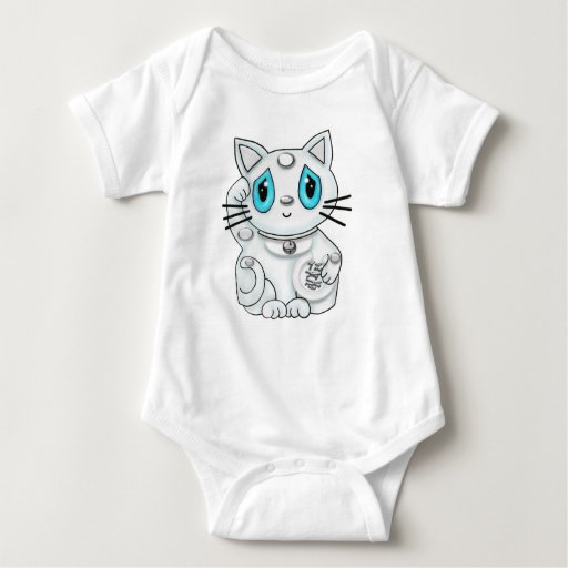 Maneki Neko White Lucky Beckoning Cat Tshirts