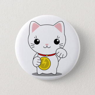 Maneki Neko - White Lucky Cat Button