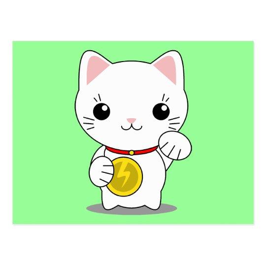 Maneki Neko - White Lucky Cat Postcard
