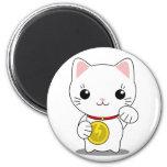 Maneki Neko - White Lucky Cat Refrigerator Magnets
