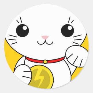 Maneki Neko - White Lucky Cat Classic Round Sticker