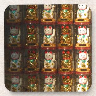 Maneki-neko, Winke-Glueckskatzen, Winkekatze Beverage Coaster
