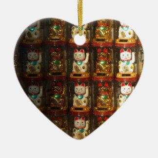 Maneki-neko, Winke-Glueckskatzen, Winkekatze Ceramic Ornament