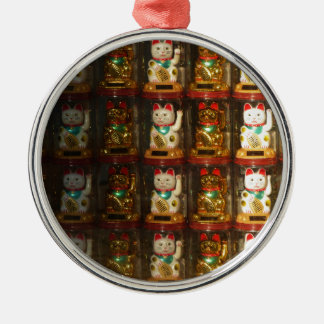 Maneki-neko, Winke-Glueckskatzen, Winkekatze Metal Ornament
