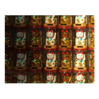 Maneki-neko, Winke-Glueckskatzen, Winkekatze Postcard