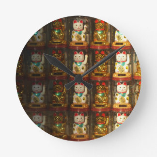 Maneki-neko, Winke-Glueckskatzen, Winkekatze Reloj Redondo Mediano