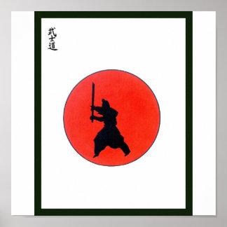 Manera de Bushido del japonés del guerrero Póster