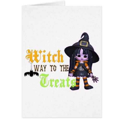 Manera de la bruja a las invitaciones tarjeta de felicitación