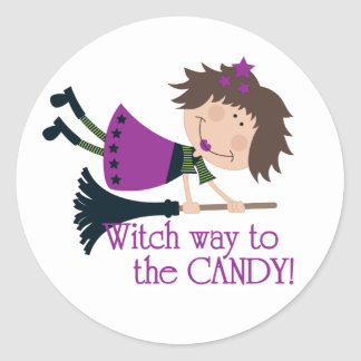 Manera de la bruja al caramelo pegatina redonda