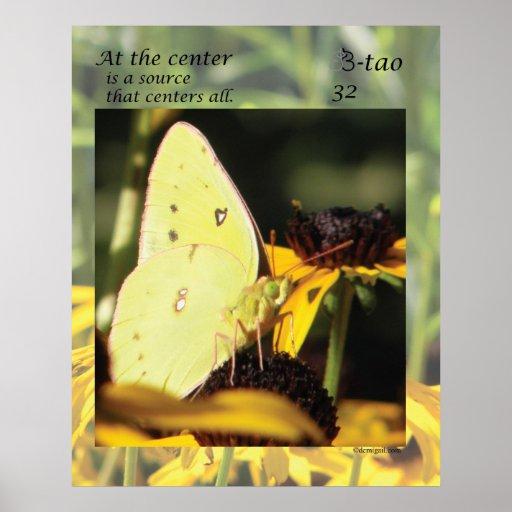 Manera de la mariposa - 32 en el centro póster