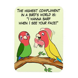 Manera del loro y del pájaro del Lovebird que dice Imán Rectangular